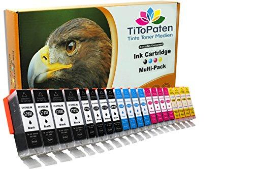 *TITOPATEN* 20x XL Druckerpatronen kompatibel mit Canon Pixma MG 5750 Ersatz für Typ PGI-570, CLI-571-4xbreit Schwarz, 4xschmal Schwarz, 4xCyan, 4xMagenta, 4xGelb - Patrone MIT CHIP !!!