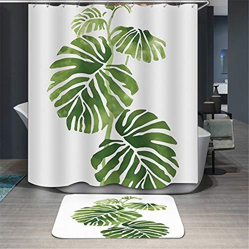 cortinas de baño con hojas verdes