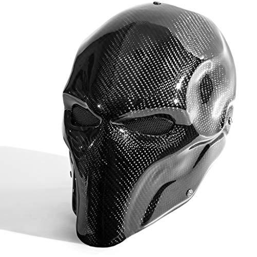 QWEASZER Schwarz Terminator Deathstroke Maske Halloween Ritter Maske Cosplay Erwachsene Männer Carbon Gesicht Helm Kostüm Film Karneval Kostüm Zubehör,Black-32X19CM