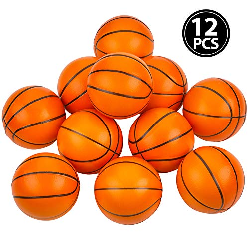 Mini Basketball Stress Balls - (Pack of 12) 25 Inch Small Foam Basketballs for Kids Sports Theme Party Favor Toys Birthday Party Game and Anxiety Stress Relief Squeeze Balls Stocking Stuffers by Bedwina