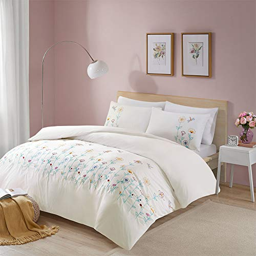 Louisa Double Cloth Embroidered Trendy Duvet Cover Set King Size - Original Floral Motifs Design - 3 Pics Ultra Soft Hypoallergenic 100% Cotton Quilt Cover Sets