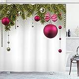 ngquzhe Präzisions-Duschvorhang nach Maß Vivid Fir Twigs Balls Duschvorhang Modern Bathroom Decoration W63 x L72 Zoll Weihnachten Olivegreen Magenta Grey