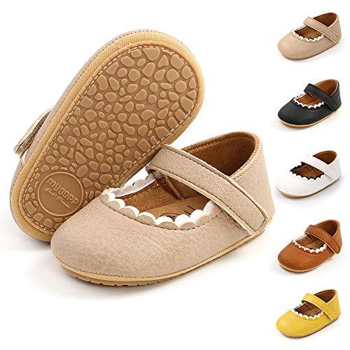 BiBeGoi Mary Jane - Zapatos de ballet para recién nacidos con moño y suela antideslizante suave para niñas, color Negro, talla 6-12 meses