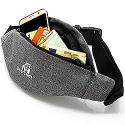 BearCraft Bauchtasche mit **GRATIS eBook** | Sportliche Hüfttasche mit 2 getrennten Fächern | Unisex Gürteltasche für Freizeit Sport Reisen Wandern Joggen