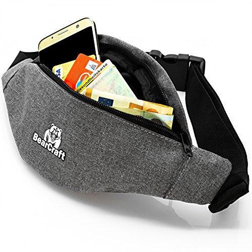 BearCraft Bauchtasche mit **GRATIS eBook**   Sportliche Hüfttasche mit 2 getrennten Fächern   Unisex Gürteltasche für Freizeit Sport Reisen Wandern Joggen