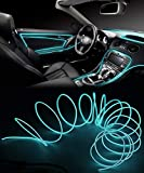 Spaiko EL Wire Car Interior Light Ambient Neon Light for All Cars with Adapter (Ice Blue, 5 Meter)