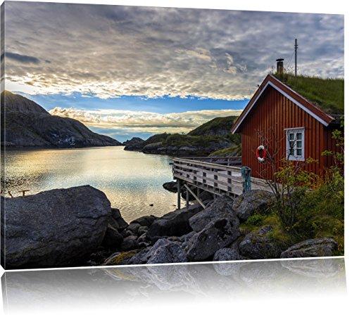 Pixxprint Sonnenaufgang am Fjord Norwegens, Format: 100x70 auf Leinwand