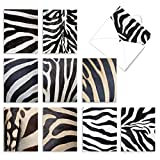 The Best Card Company - 10 Blank Greeting Cards with Animals (4 x 5.12 Inch) - Assorted Pets, Wildlife Kid Cards - Zebra Zeal M2032