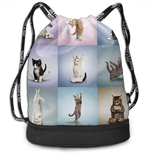 PmseK Rucksack bedruckt mit Kordelzug, Drawstring Bag Yoga Cute Kitty Shoulder Bags Travel Sport Gym Bag Print – Yoga Runner Daypack Shoe Bags mit Reißverschluss und Taschen