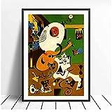 bdkym Modernos Carteles E Impresiones De Arte Surrealista De Joan Miro, Cuadros De Pintura En Lienzo En La Pared, Póster Decorativo Abstracto para Decoración del Hogar, 40X60Cmx1 Sin Marco