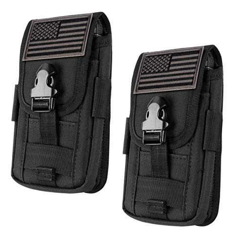 """IronSeals 2 Pack Tactical Cell Phone Holster Pouch, Smartphone Pouches EDC Cellphone Case Molle Gadget Bag Molle Attachment Belt Holder Waist Bag for 4""""-5.7"""" with Armor Case on with US Flag Patch"""