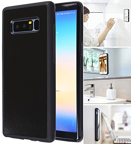 MONCA ] Anti Gravity Cellphone Case [Black] Magical Nano Technology Stick to Wall, Glass, Whiteboards, Tile, Smooth Flat Surfaces (Goat Case for Galaxy Note 8)