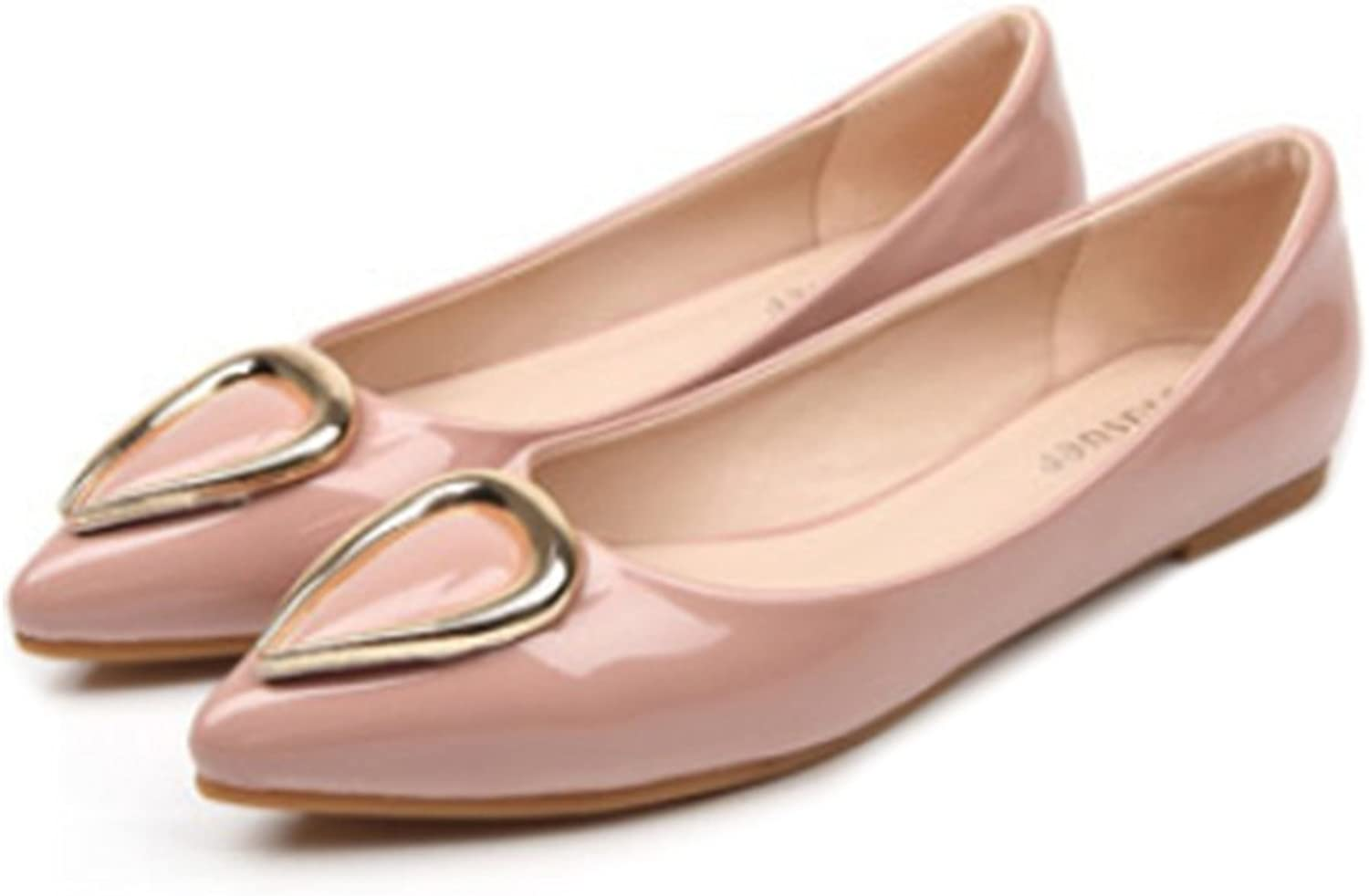 Ox Horn Metal Pointed Low-cut Women Thin shoes pink 39
