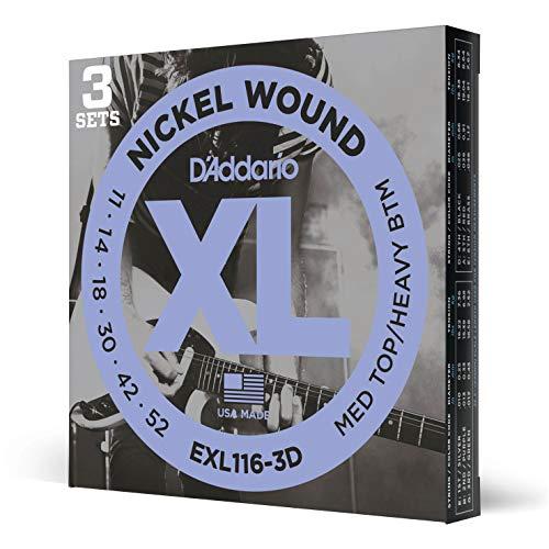 D'Addario EXL116 Nickel Wound Electric Guitar Strings, Medium Top/Heavy Bottom, 11-52, 3 Sets (EXL116-3D)