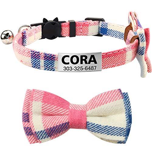 Taglory Katzenhalsband Personalisiert, Halsband Katze Sicherheitsverschluss mit Glocken und Fliege, Graviertes Edelstahl ID-Tag,18-25cm Pink