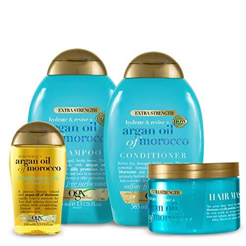 OGX Arganöl von Marokko Set mit Shampoo, Conditioner, Haarmaske und Öl, 100 ml
