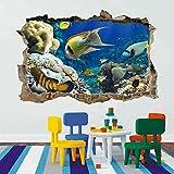 Pegatinas de pared 3D Peces de coral acuario 3D Smashed Wall Art Stickers niños dormitorio guardería