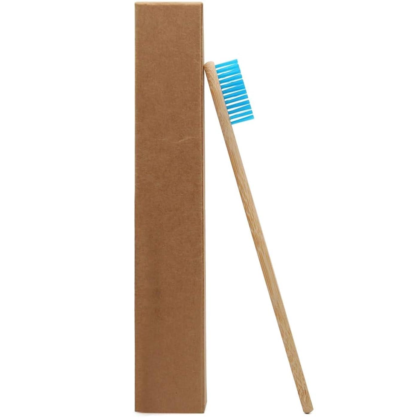 説得感嘆カメGederq - 高品質1つのPCブルーヘッド竹歯ブラシ卸売環境木製ブルー竹歯ブラシオーラルケアソフト絵筆