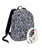 Zaino SEVEN THE DOUBLE - MAZE GIRL - Bianco e Nero Fantasia - Cuffie wireless - 2 zaini in 1 REVERSIBILE