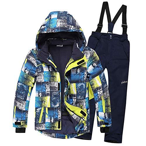 WAY Kinder Jungen / Mädchen 2-teiliges bedrucktes Skianzug Schneeanzug Snowboard Set Skijacke & Amp; Ski Latzhose Set, gemusterte Jacke + dunkelblaue Hose, 14 Jahre