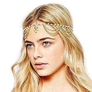Indian Fashion Jewelry Head Accessories Beaded Maang Tikka