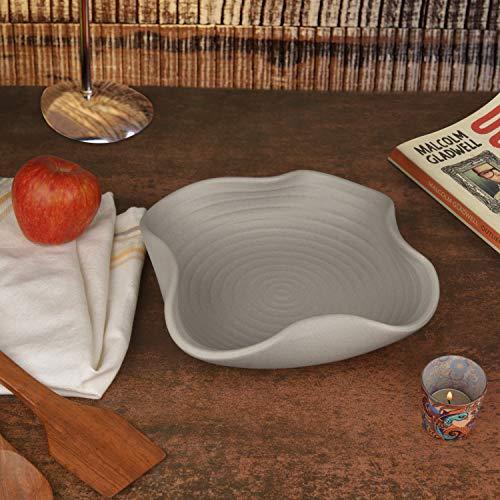 StyleMyWay Ceramic Matt Finish Stylish Serving Bowl (22 cm , Grey)   Salad Bowl   Pasta Serving Bowl   Snack Bowl
