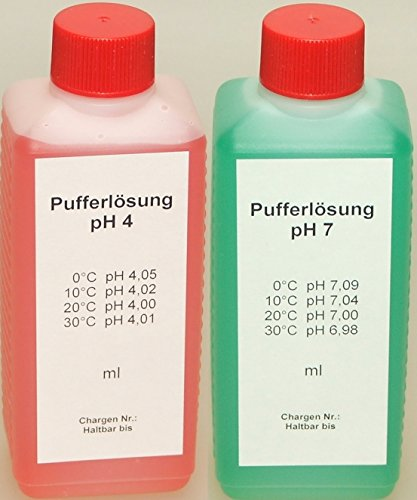 Lasama Pufferlösung/Eichlösung Set je 250 ml pH4 + pH7 Kalibrierlösung
