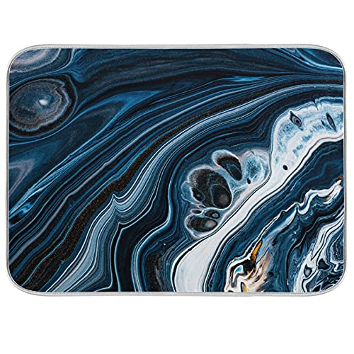 Tarity Navy Blue Marble Dish Drying Mat Pad for Kitchen Counter Large 18x24in Absorbent Microfiber Drying Dishes Drainer Rack Mat with Hanging Loop XL Heat Resistant Drying Pad for Sink Countertop