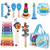 Kids Musical Instruments Sets, 12pcs Wooden Percussion Instruments Toys Tambourine Xylophone for...