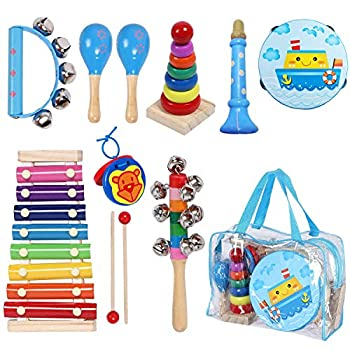MAXZONE Toddler Kids Musical Instruments Sets 12pcs Wooden Percussion Instruments Toys Tambourine Xylophone for Kids Playing Preschool Education Early Learning Musical Toys for Boys and Girls Gift