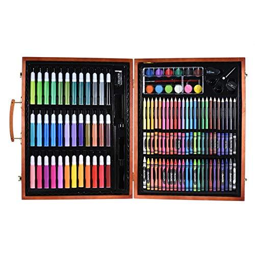Juego de 148 lápices de colores de lujo para niños, con estuche de madera, marcadores de colores, lápices de colores, lápices de colores pastel al óleo, acuarela, utensilios de pintura