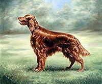 十代の若者たちのための数字で描く数字で描くキットアイリッシュセッター犬DIY油絵ブラシでキャンバスを描く装飾ギフト