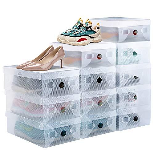 PERFETSELL 12 STK Schuhboxen Transparent Schuhe Box Plastik Schuhaufbewahrung Box Stapelbar Aufbewahrungsbox Schuhe Kunststoff Schuhorganizer Schuhkarton 28 x18x9,5 cm für Schuhe bis Größe 42