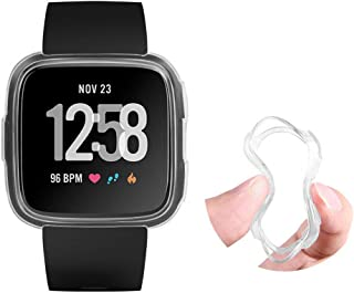 Soft for Fitbit Versa Watch Case,Super Thin Silicone TPU 360 Whole Body Screen Protector Cover