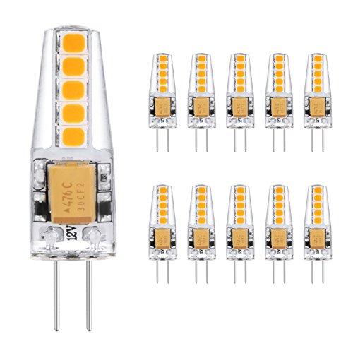 Ascher 10er Pack G4 2W LED Lampen, 10X 2835SMD, 220LM, Ersatz für 20W Halogenlampen,12V AC/DC, Warmweiß,360° Abstrahlwinkel, LED Birnen, LED Leuchtmittel