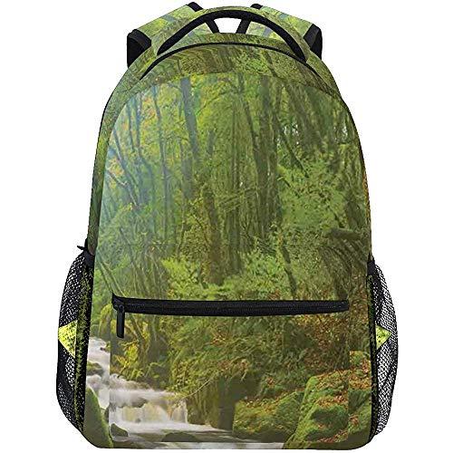 Precious Meet Green Forest at Golitha Falls Print Personnalisé Léger Grande Capacité Sac À Dos pour Ordinateur Portable Moderne Mode Casual