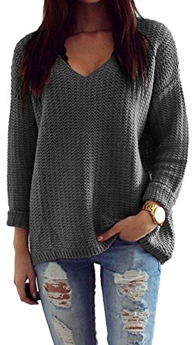 Mikos*Damen Pullover Winter Casual Long Sleeve Loose Strick Pullover Sweater Top Outwear (627) *Hergestellt in der EU - Kein Asienimport* (Graphite)