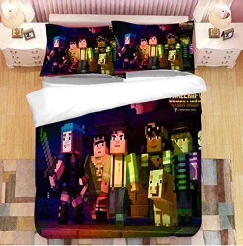 Simproude Juego de Funda de Edredón 135 x 200 cm Minecraft Juego de Ropa de Cama 3 Piezas Incluida 1 Transpirable Altamente Ventilado Funda de Nórdica y 1 Fundas de Almohada