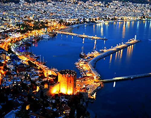 DIY Paint by Numbers for Kids & Beginner & Adults,View of Alanya Harbor Alanya Peninsula Turkish Riviera by Night Place Seaside,Gift Oil Painting Supplies Kit Set Canvas Art Home Decor, 20 x 16inch