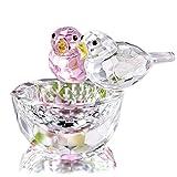 HDCRYSTALGIFTS Figuras de cristal de doble pájaros ornamentos de animales de cristal colección de pájaros Pisapapeles mesa centro de mesa (rosa y transparente)