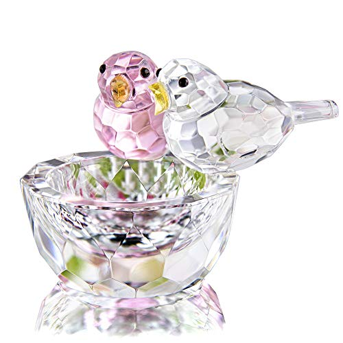 HDCRYSTALGIFTS Crystal Double Birds Figurines Glass Animal Ornament Bird Collection Paperweight Table Centerpiece Ornament(Pink and Clear)