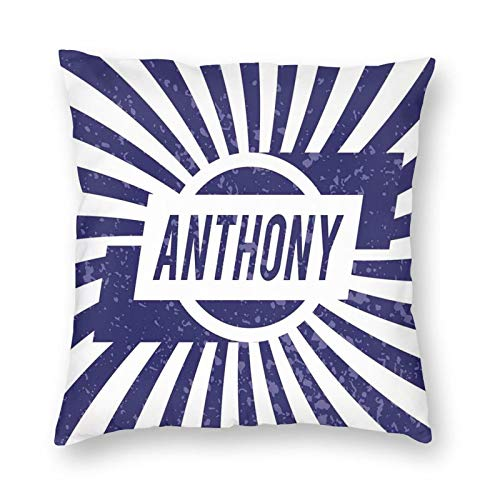 Decorative Cushion Covers with Ancient Masculine Given Name with Weathered Appearance On Retro Stripes,for Sofa Office Decor Cotton and Linen Cushion Covers 22*22Inch