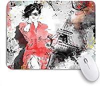 ECOMAOMI 可愛いマウスパッド パリモダンパリジェンヌフランスのファッション女性女性の複雑なグランジ背景モダン 滑り止めゴムバッキングマウスパッドノートブックコンピュータマウスマット