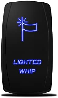MicTuning MIC-LSW1 5Pin Laser Whip Rocker Switch On-Off LED Light 20A 12V, Blue