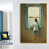 LBJZD impresiones en lienzo 50×70cm sin marco Chica De Pie En La Ventana De Salvador Dali Póster Pared Arte Impresión Lienzo Impresiones Pintura Decoración Nórdica Vintage