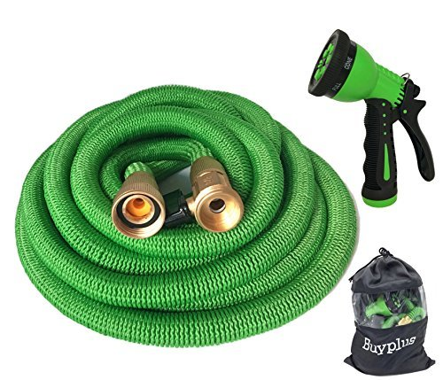 Buyplus Expandable Garden Hose - Improved 50ft Expanding Water Hose Kit, Heavy Duty Car Wash Sprayer, 3/4 Solid Brass Fittings, 9 Function Watering Spray Nozzle, Sack Bag