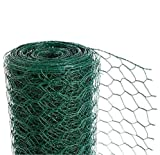 CrazyGadget® Chicken Wire Mesh Rabbit Animal Fence Green PVC Coated Steel Metal Garden Netting Fencing 25m (0.9m x 25m) - Hole Size: 25mm