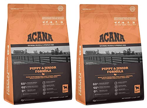 ACANA 2 Bags of Puppy & Junior Dry Dog Food, 4.5...