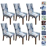 SPRINGRICO Chair Covers for Dining Room 6 Pack, Stretch Dining Chair Cover, Washable Spandex Kitchen Parsons Chair Slipcovers, Removable Seat Protector for Home or Party ( Set of 6, STYLE01)