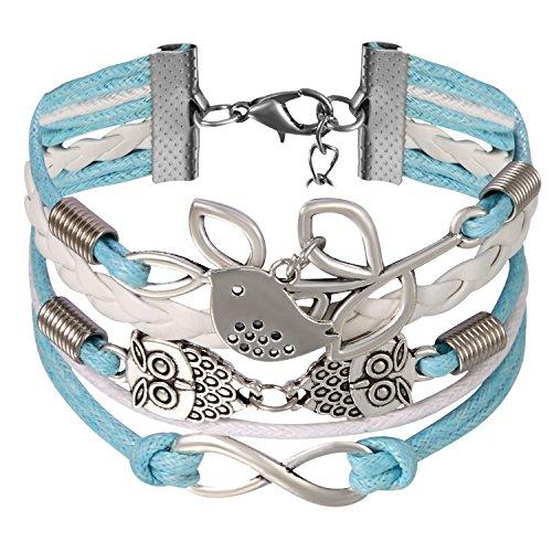 JewelryWe Schmuck Freundschaft Armband, Vintage Vogel Eule Ölzweig Infinity Unendlichkeit Zeichen Leder Legierung Seil Charm Armreif Wickelarmband, Blau Weiß Silber